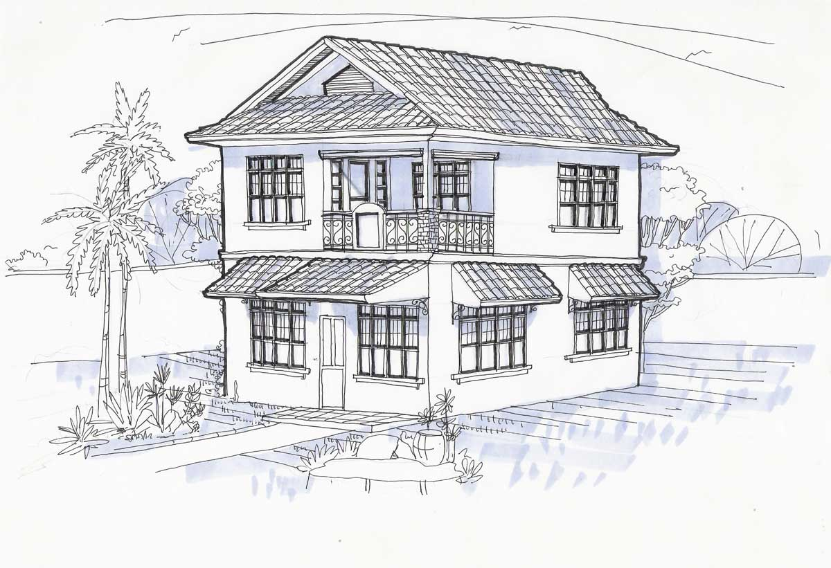 Perspective for Architecture house drawing