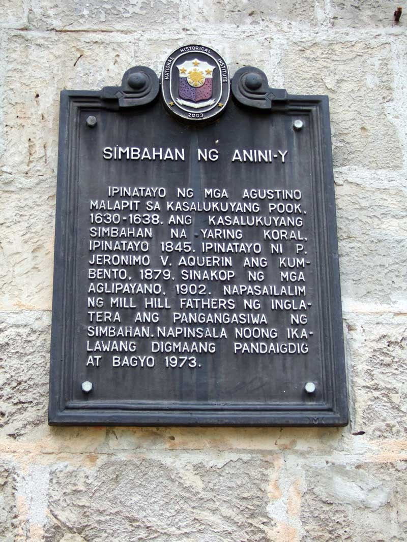 Historic Plaque on Anini-y Church