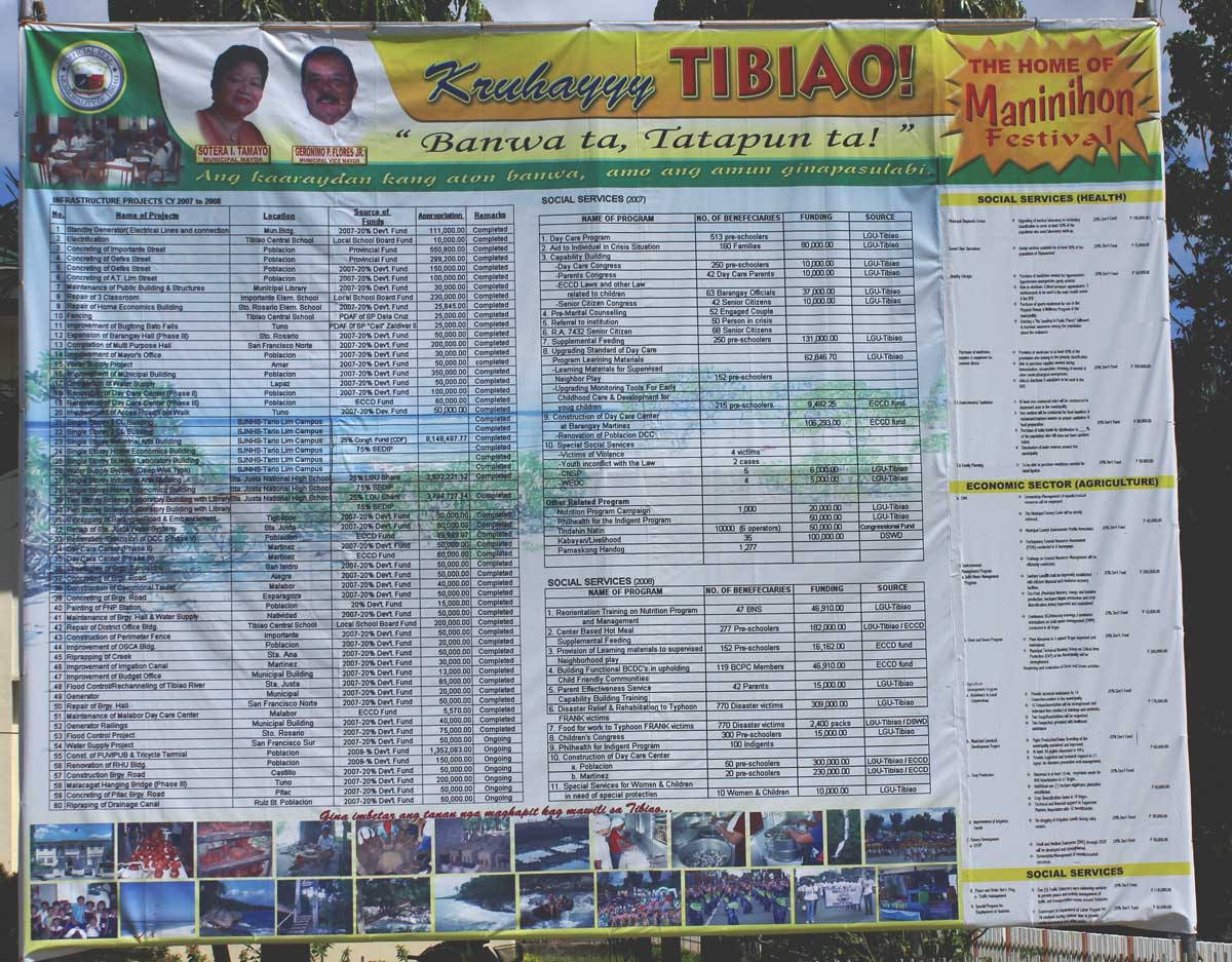 Another sign in front of Tibiao, Antique Municipal Hall.  It seems to give a public account of projects and expeditures.