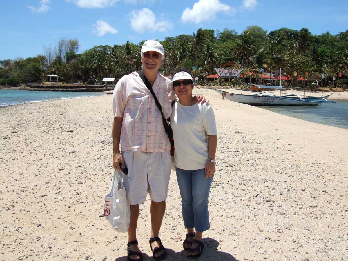 Bob and Carol in obligatory arrival photo.  Marbuena Island Resort, Iloilo, Philippines