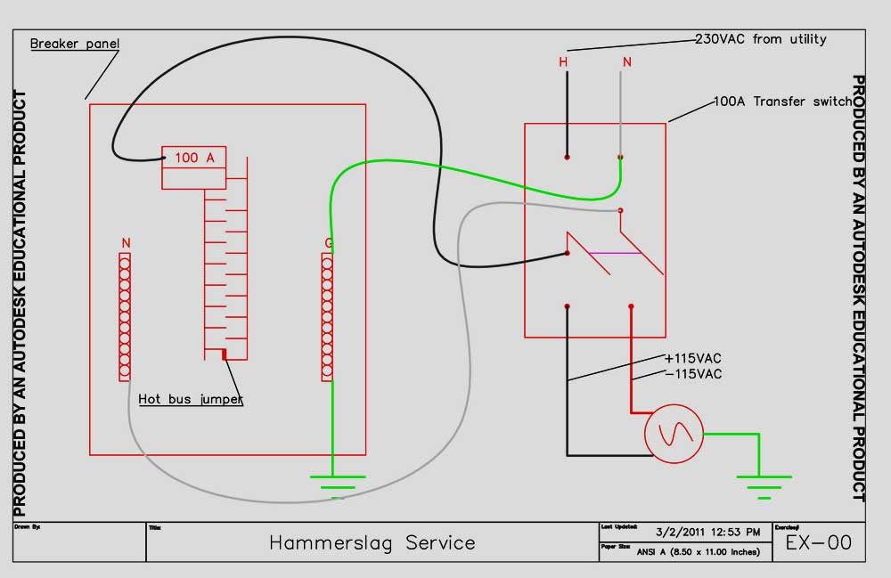 Wiring diagram for generator hookup