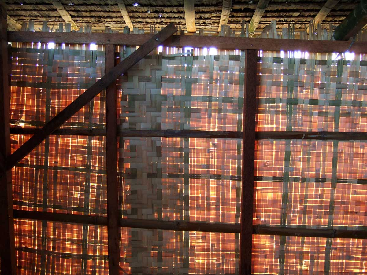 "The bodega is sheathed in ""hamakan"", thin strips of bamboo.  In Tagalog areas it's called sawali."