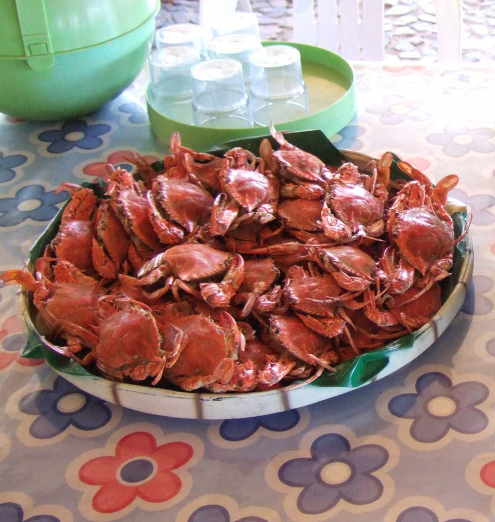 and a plate of small crabs.  Marbuena Island Resort, Iloilo, Philippines