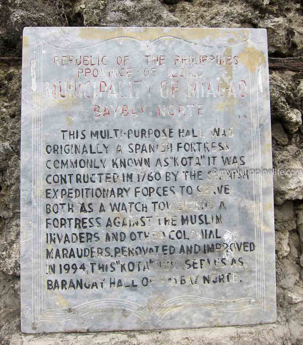 "Historic plaque - Miagao ""kota"" or watchtower"