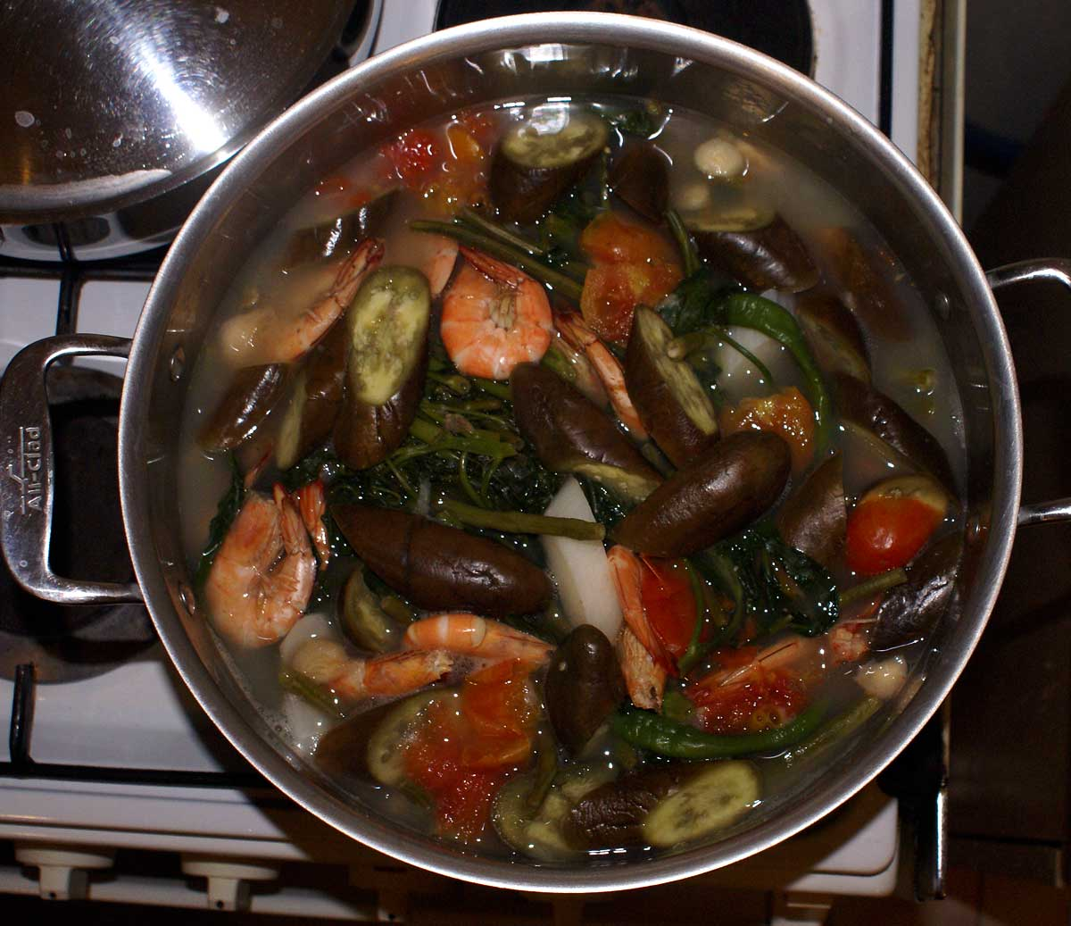 Sinigang with shrimp and eggplant.