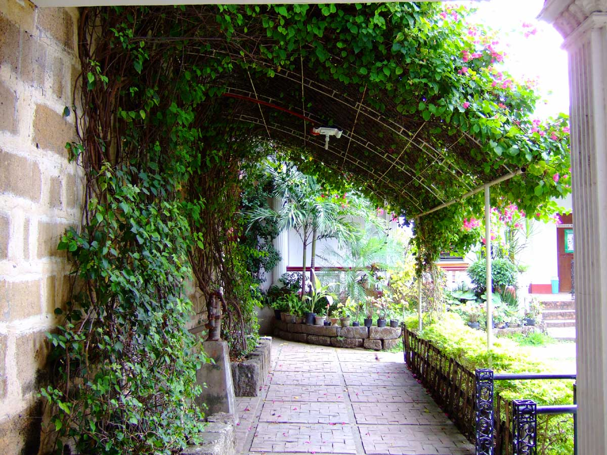 Pretty garden in Tigbauan Church courtyard