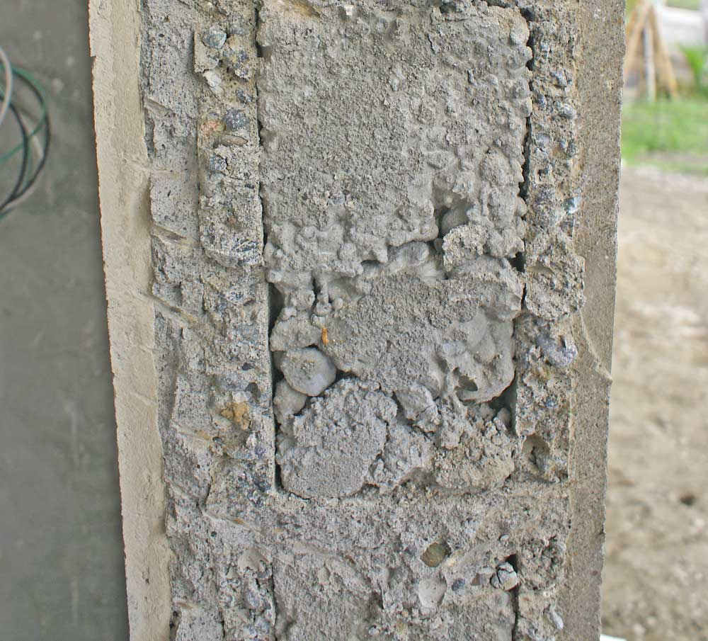 Cross section of finished wall