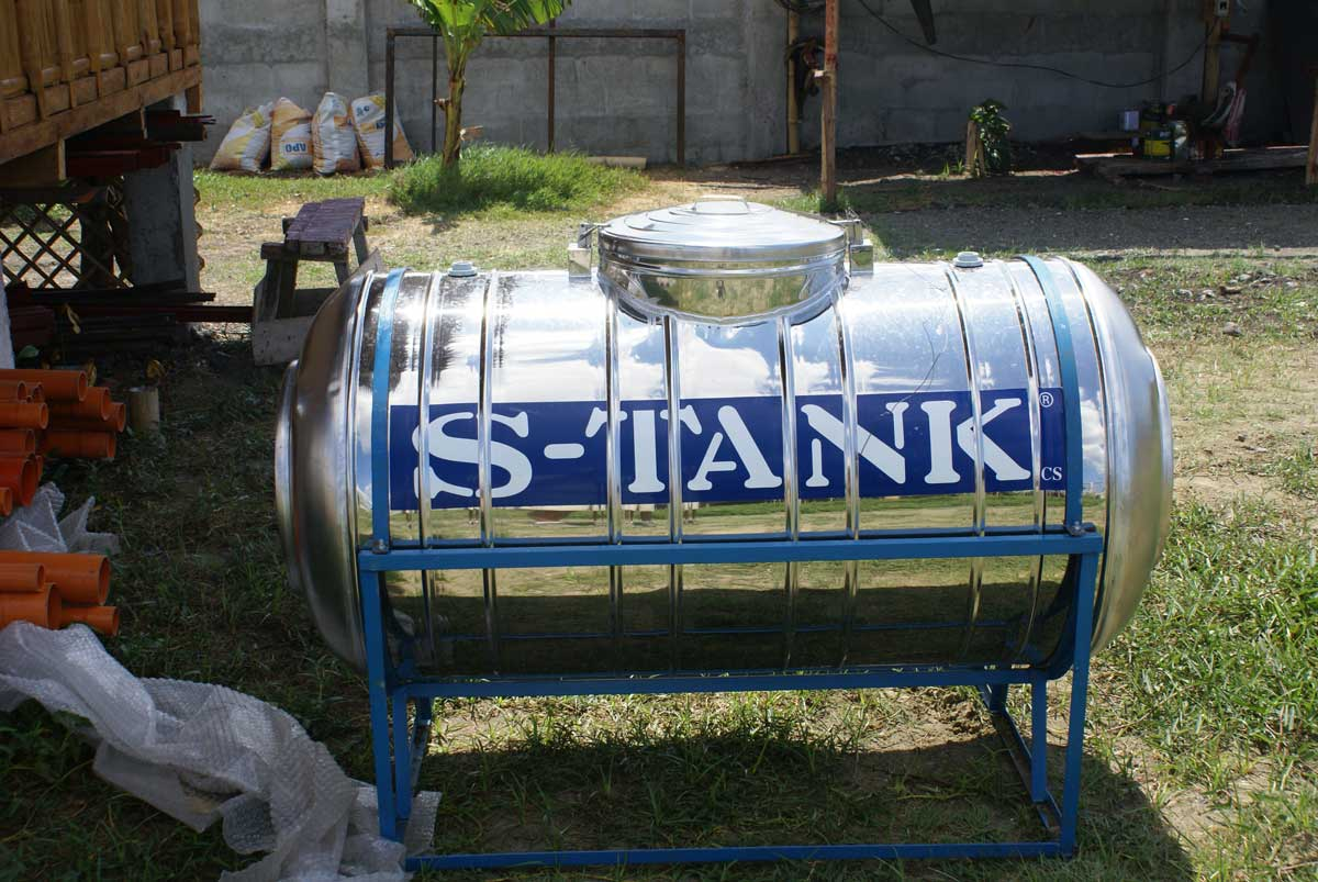 450 liter stainless steel water tank to go under carport roof.  Cost about P9,500.